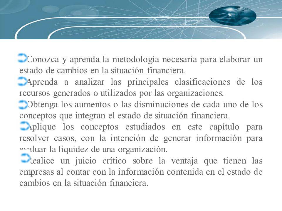 Para ilustrar la elaboración del estado de cambios en la situación financiera utilizaremos la información financiera correspondiente a la Compañía Saturnix, S.