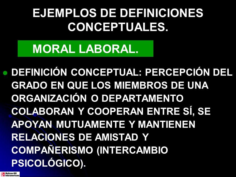 EJEMPLOS DE DEFINICIONES CONCEPTUALES. DEFINICIÓN CONCEPTUAL: PERCEPCIÓN DEL GRADO EN QUE LOS MIEMBROS DE UNA ORGANIZACIÓN O DEPARTAMENTO COLABORAN Y