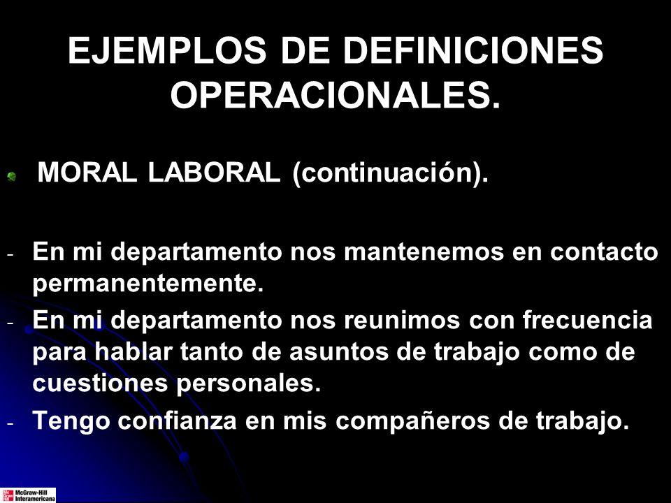 EJEMPLOS DE DEFINICIONES OPERACIONALES. MORAL LABORAL (continuación). - - En mi departamento nos mantenemos en contacto permanentemente. - - En mi dep