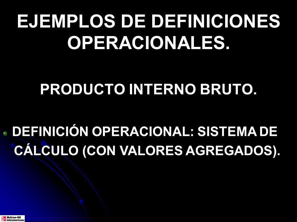 EJEMPLOS DE DEFINICIONES OPERACIONALES. PRODUCTO INTERNO BRUTO. DEFINICIÓN OPERACIONAL: SISTEMA DE CÁLCULO (CON VALORES AGREGADOS).