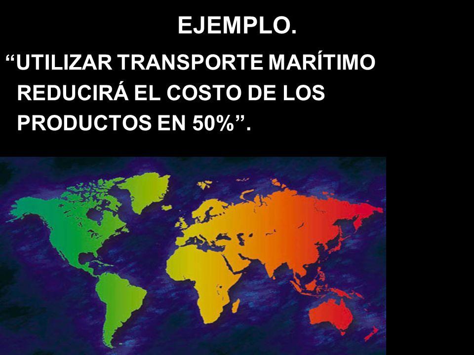 EJEMPLO. UTILIZAR TRANSPORTE MARÍTIMO REDUCIRÁ EL COSTO DE LOS PRODUCTOS EN 50%.