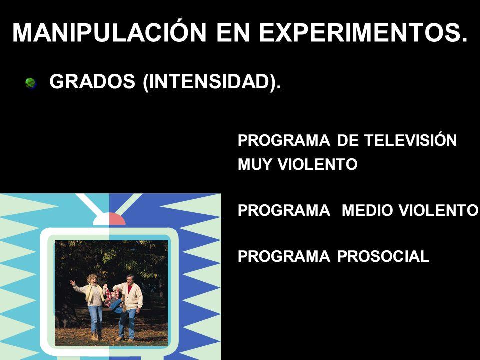 MANIPULACIÓN EN EXPERIMENTOS. GRADOS (INTENSIDAD). PROGRAMA DE TELEVISIÓN MUY VIOLENTO PROGRAMA MEDIO VIOLENTO PROGRAMA PROSOCIAL
