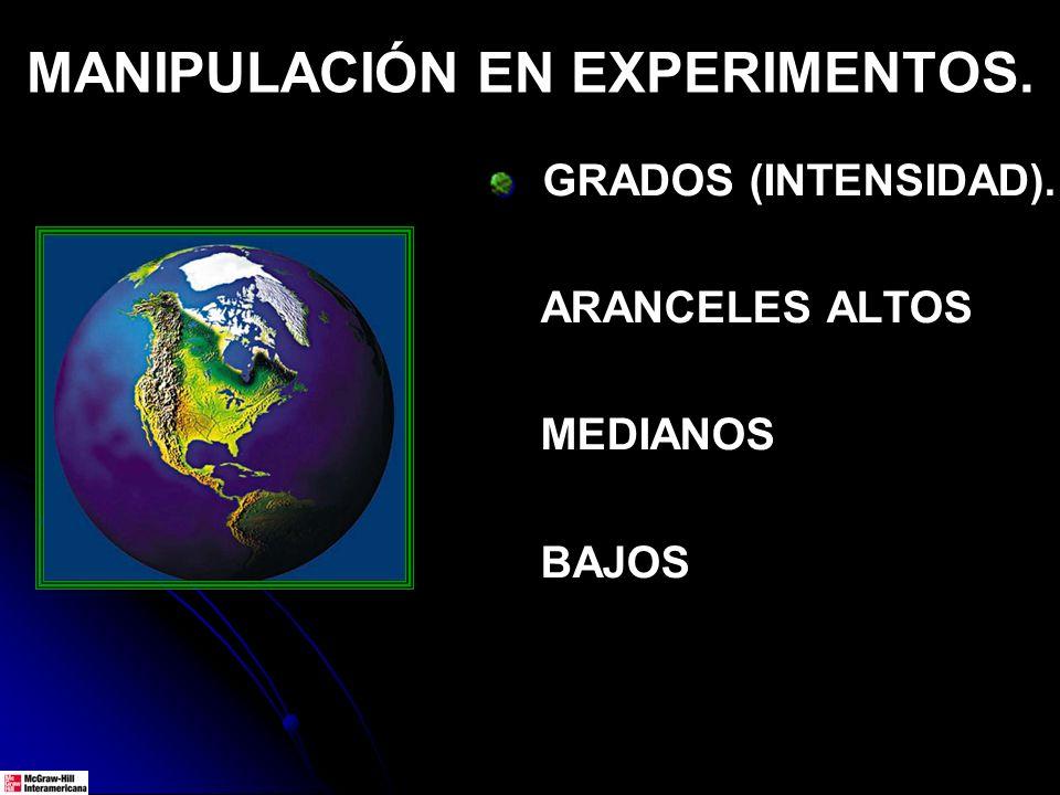 MANIPULACIÓN EN EXPERIMENTOS. GRADOS (INTENSIDAD). ARANCELES ALTOS MEDIANOS BAJOS
