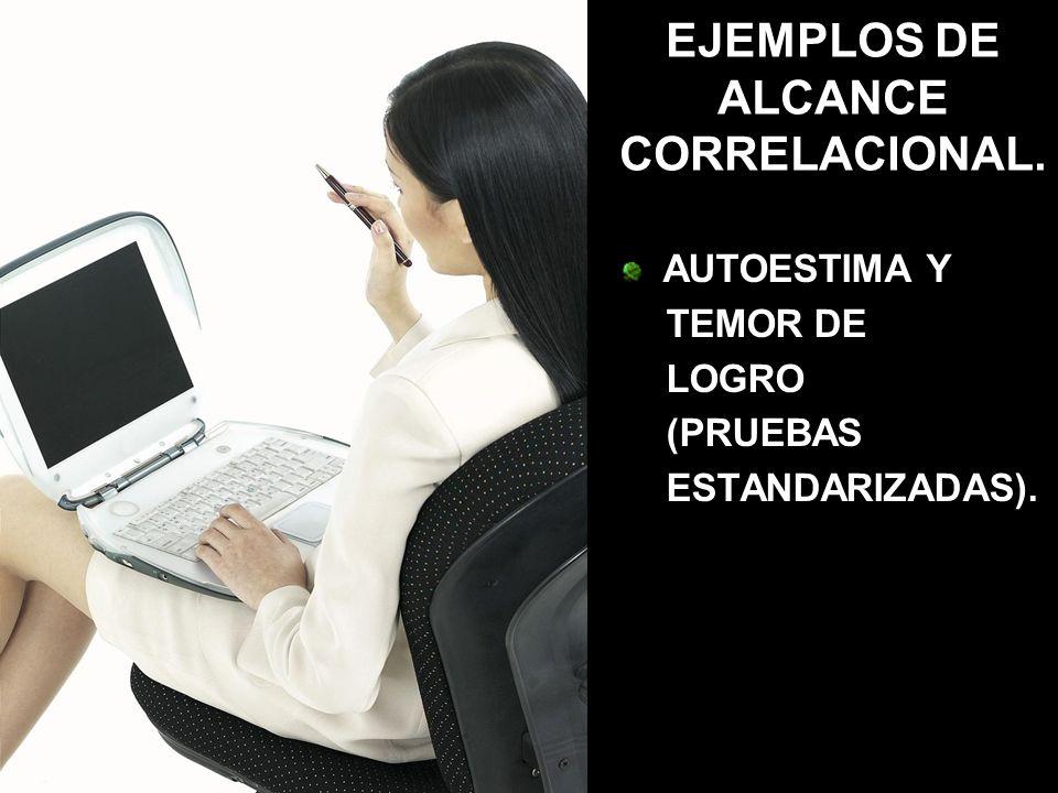 EJEMPLOS DE ALCANCE CORRELACIONAL. AUTOESTIMA Y TEMOR DE LOGRO (PRUEBAS ESTANDARIZADAS).