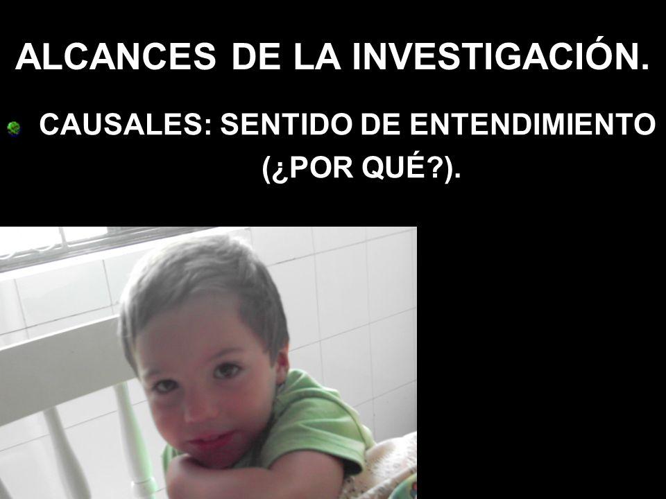 ALCANCES DE LA INVESTIGACIÓN. CAUSALES: SENTIDO DE ENTENDIMIENTO (¿POR QUÉ?).