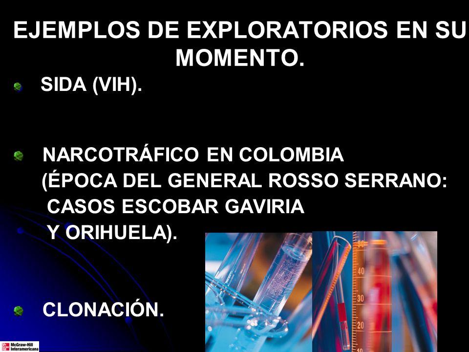 EJEMPLOS DE EXPLORATORIOS EN SU MOMENTO. SIDA (VIH). NARCOTRÁFICO EN COLOMBIA (ÉPOCA DEL GENERAL ROSSO SERRANO: CASOS ESCOBAR GAVIRIA Y ORIHUELA). CLO