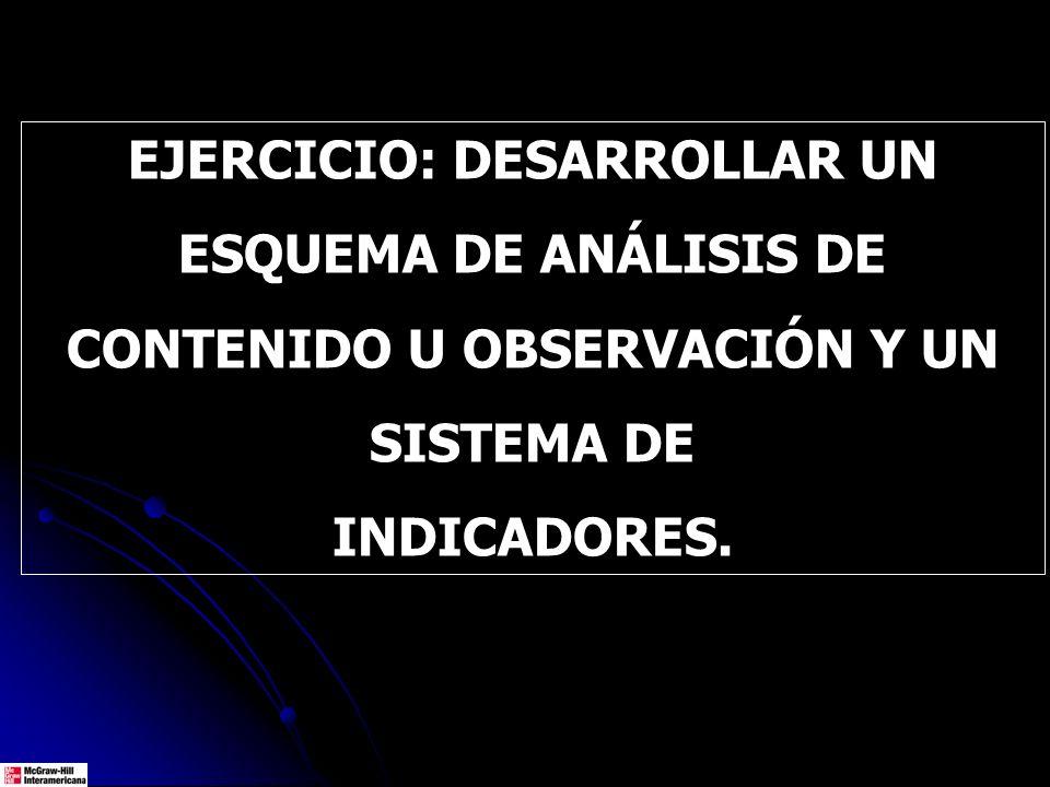 EJERCICIO: DESARROLLAR UN ESQUEMA DE ANÁLISIS DE CONTENIDO U OBSERVACIÓN Y UN SISTEMA DE INDICADORES.