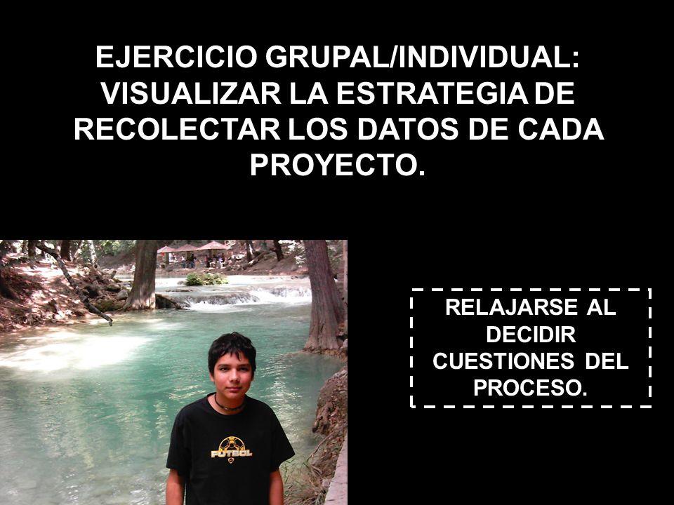 EJERCICIO GRUPAL/INDIVIDUAL: VISUALIZAR LA ESTRATEGIA DE RECOLECTAR LOS DATOS DE CADA PROYECTO. RELAJARSE AL DECIDIR CUESTIONES DEL PROCESO.