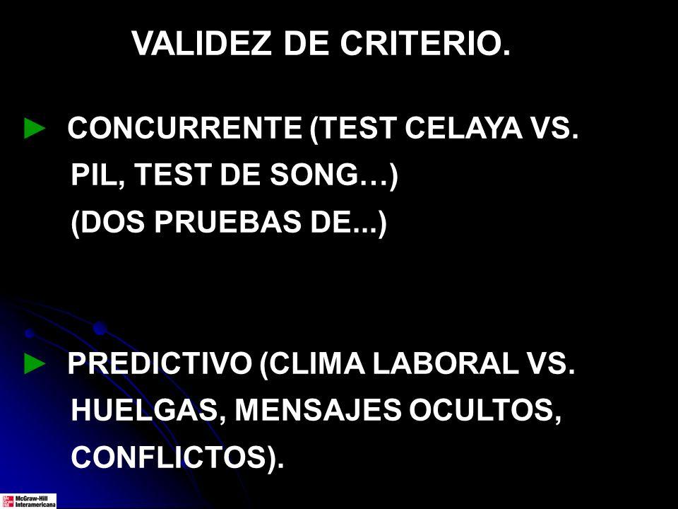 VALIDEZ DE CRITERIO. CONCURRENTE (TEST CELAYA VS. PIL, TEST DE SONG…) (DOS PRUEBAS DE...) PREDICTIVO (CLIMA LABORAL VS. HUELGAS, MENSAJES OCULTOS, CON