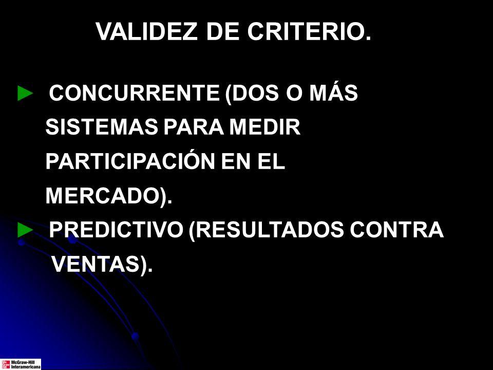 VALIDEZ DE CRITERIO. CONCURRENTE (DOS O MÁS SISTEMAS PARA MEDIR PARTICIPACIÓN EN EL MERCADO). PREDICTIVO (RESULTADOS CONTRA VENTAS).