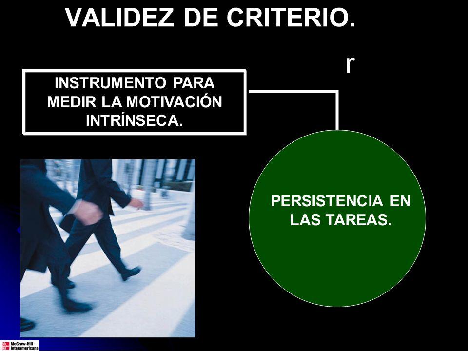 VALIDEZ DE CRITERIO. INSTRUMENTO PARA MEDIR LA MOTIVACIÓN INTRÍNSECA. PERSISTENCIA EN LAS TAREAS. r