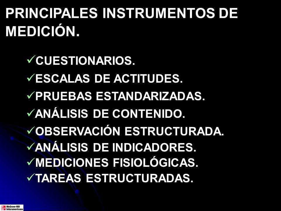 PRINCIPALES INSTRUMENTOS DE MEDICIÓN. CUESTIONARIOS. ESCALAS DE ACTITUDES. PRUEBAS ESTANDARIZADAS. ANÁLISIS DE CONTENIDO. OBSERVACIÓN ESTRUCTURADA. AN