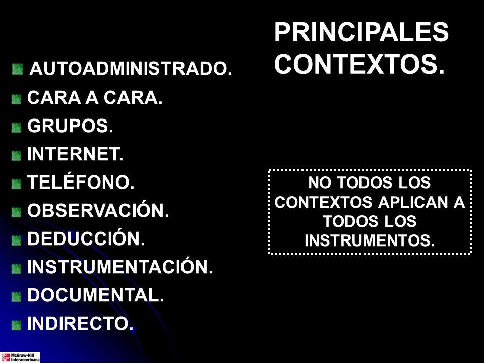 PRINCIPALES CONTEXTOS. AUTOADMINISTRADO. CARA A CARA. GRUPOS. INTERNET. TELÉFONO. OBSERVACIÓN. DEDUCCIÓN. INSTRUMENTACIÓN. DOCUMENTAL. INDIRECTO. NO T