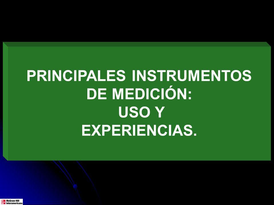 PRINCIPALES INSTRUMENTOS DE MEDICIÓN: USO Y EXPERIENCIAS.