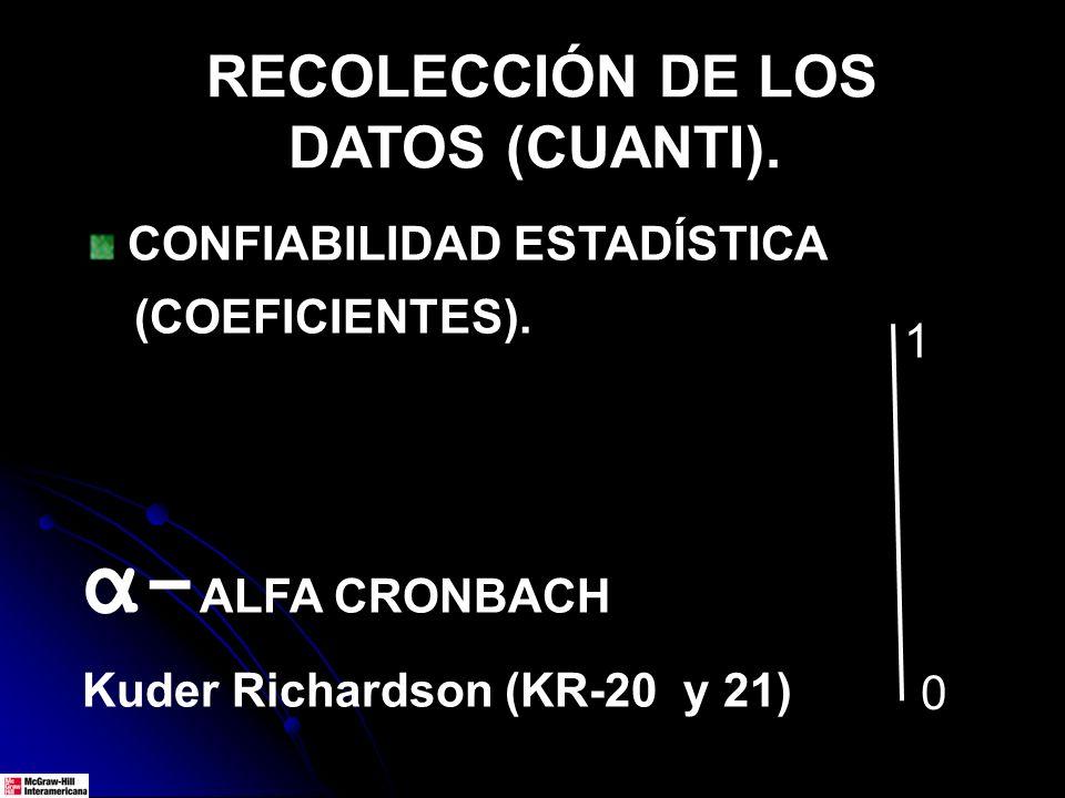 RECOLECCIÓN DE LOS DATOS (CUANTI). CONFIABILIDAD ESTADÍSTICA (COEFICIENTES). α- ALFA CRONBACH Kuder Richardson (KR-20 y 21) 1 0