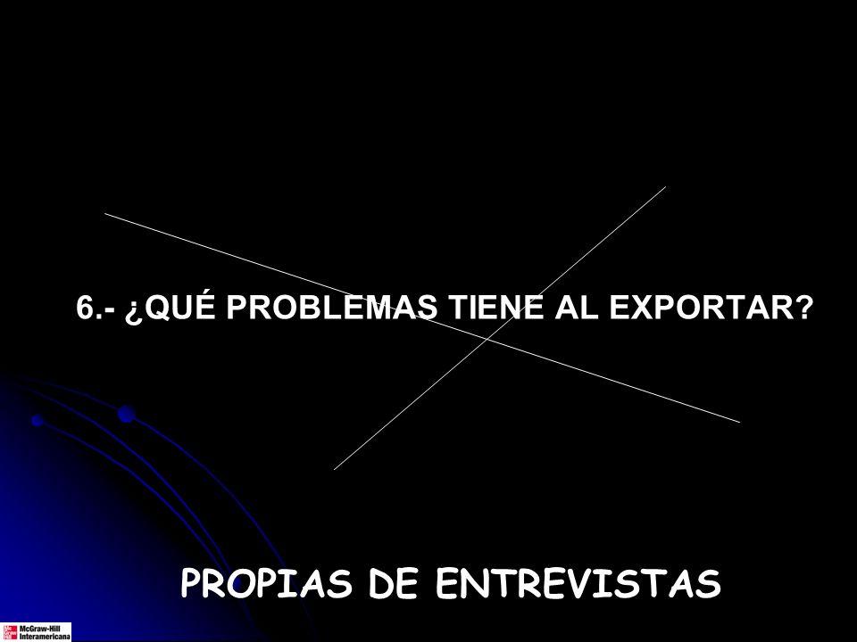 6.- ¿QUÉ PROBLEMAS TIENE AL EXPORTAR? PROPIAS DE ENTREVISTAS