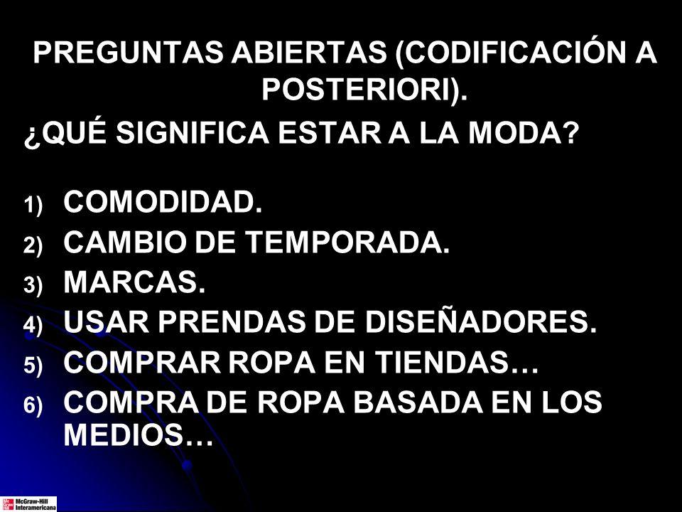 PREGUNTAS ABIERTAS (CODIFICACIÓN A POSTERIORI). ¿QUÉ SIGNIFICA ESTAR A LA MODA? 1) 1) COMODIDAD. 2) 2) CAMBIO DE TEMPORADA. 3) 3) MARCAS. 4) 4) USAR P