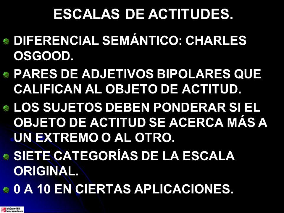 ESCALAS DE ACTITUDES. DIFERENCIAL SEMÁNTICO: CHARLES OSGOOD. PARES DE ADJETIVOS BIPOLARES QUE CALIFICAN AL OBJETO DE ACTITUD. LOS SUJETOS DEBEN PONDER