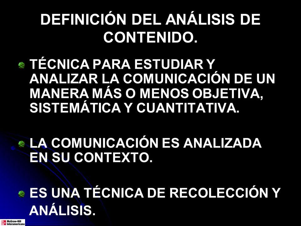 DEFINICIÓN DEL ANÁLISIS DE CONTENIDO. TÉCNICA PARA ESTUDIAR Y ANALIZAR LA COMUNICACIÓN DE UN MANERA MÁS O MENOS OBJETIVA, SISTEMÁTICA Y CUANTITATIVA.