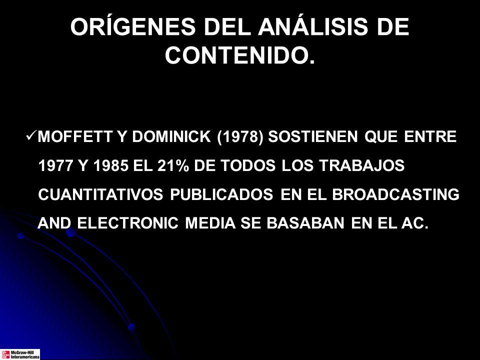 ORÍGENES DEL ANÁLISIS DE CONTENIDO. MOFFETT Y DOMINICK (1978) SOSTIENEN QUE ENTRE 1977 Y 1985 EL 21% DE TODOS LOS TRABAJOS CUANTITATIVOS PUBLICADOS EN