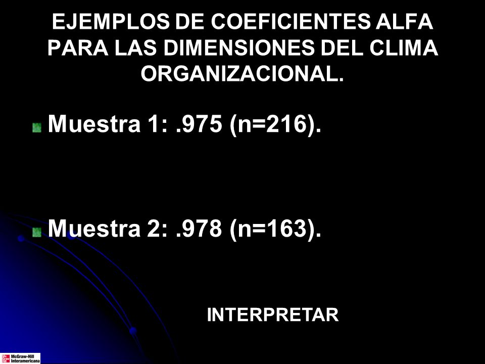 EJEMPLOS DE COEFICIENTES ALFA PARA LAS DIMENSIONES DEL CLIMA ORGANIZACIONAL. Muestra 1:.975 (n=216). Muestra 2:.978 (n=163). INTERPRETAR