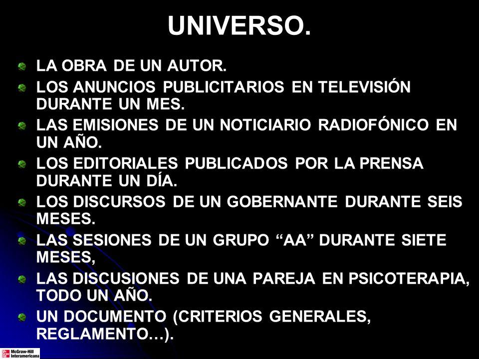 UNIVERSO. LA OBRA DE UN AUTOR. LOS ANUNCIOS PUBLICITARIOS EN TELEVISIÓN DURANTE UN MES. LAS EMISIONES DE UN NOTICIARIO RADIOFÓNICO EN UN AÑO. LOS EDIT