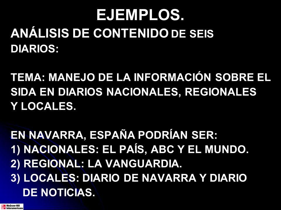 ANÁLISIS DE CONTENIDO DE SEIS DIARIOS: TEMA: MANEJO DE LA INFORMACIÓN SOBRE EL SIDA EN DIARIOS NACIONALES, REGIONALES Y LOCALES. EN NAVARRA, ESPAÑA PO