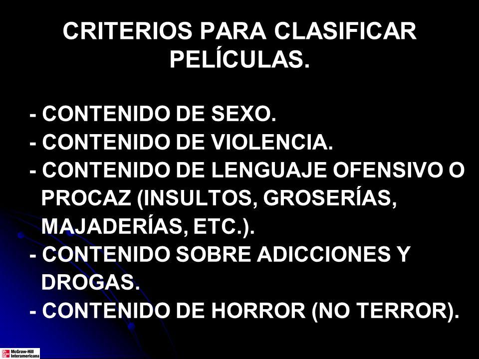 CRITERIOS PARA CLASIFICAR PELÍCULAS. - CONTENIDO DE SEXO. - CONTENIDO DE VIOLENCIA. - CONTENIDO DE LENGUAJE OFENSIVO O PROCAZ (INSULTOS, GROSERÍAS, MA