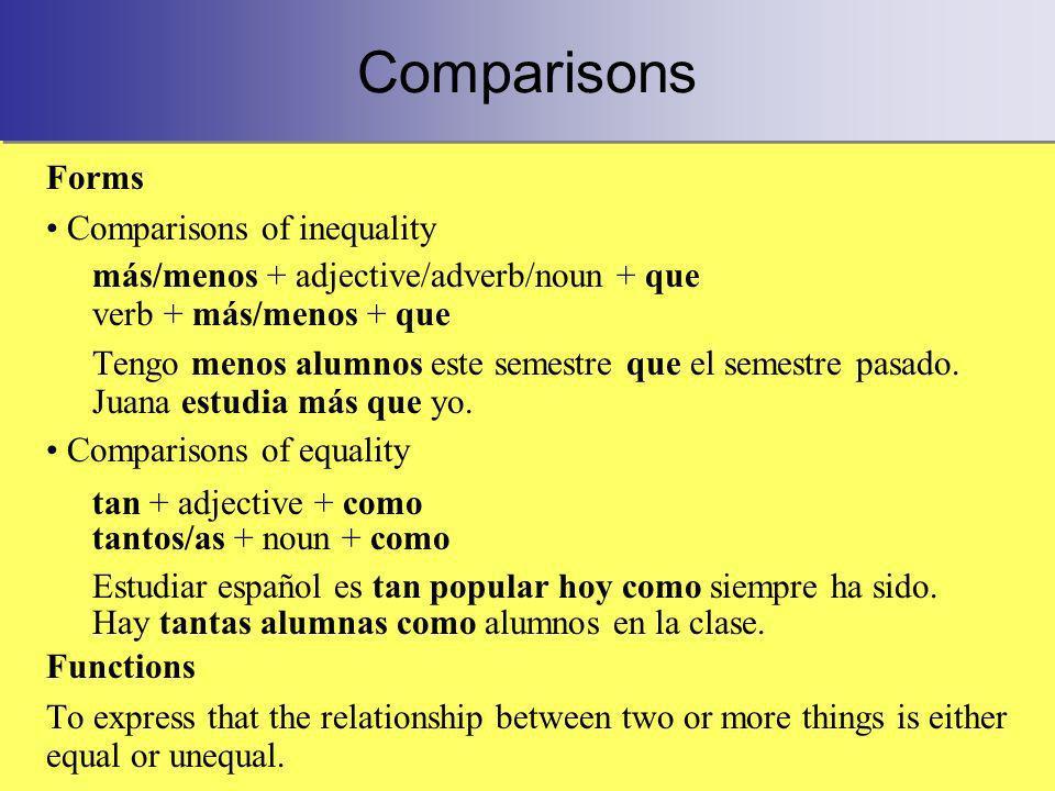 Comparisons Forms Comparisons of inequality más/menos + adjective/adverb/noun + que verb + más/menos + que Tengo menos alumnos este semestre que el semestre pasado.