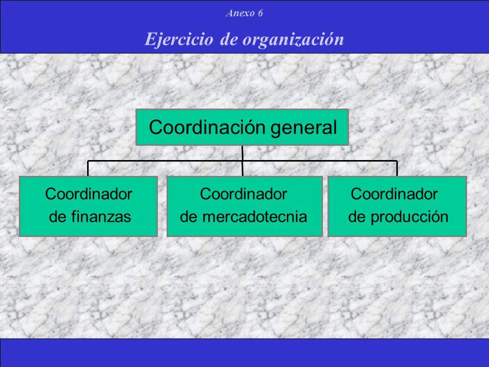 Ejercicio de organización Anexo 6 Coordinador de finanzas Coordinador de mercadotecnia Coordinador de producción Coordinación general