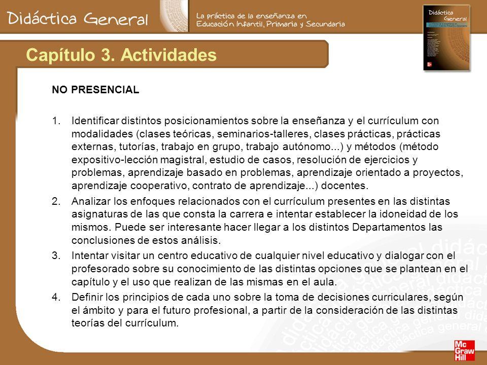 Capítulo 3. Actividades NO PRESENCIAL 1.Identificar distintos posicionamientos sobre la enseñanza y el currículum con modalidades (clases teóricas, se