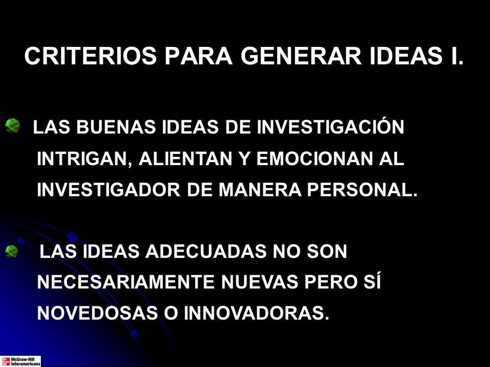 LAS BUENAS IDEAS DE INVESTIGACIÓN INTRIGAN, ALIENTAN Y EMOCIONAN AL INVESTIGADOR DE MANERA PERSONAL. LAS IDEAS ADECUADAS NO SON NECESARIAMENTE NUEVAS
