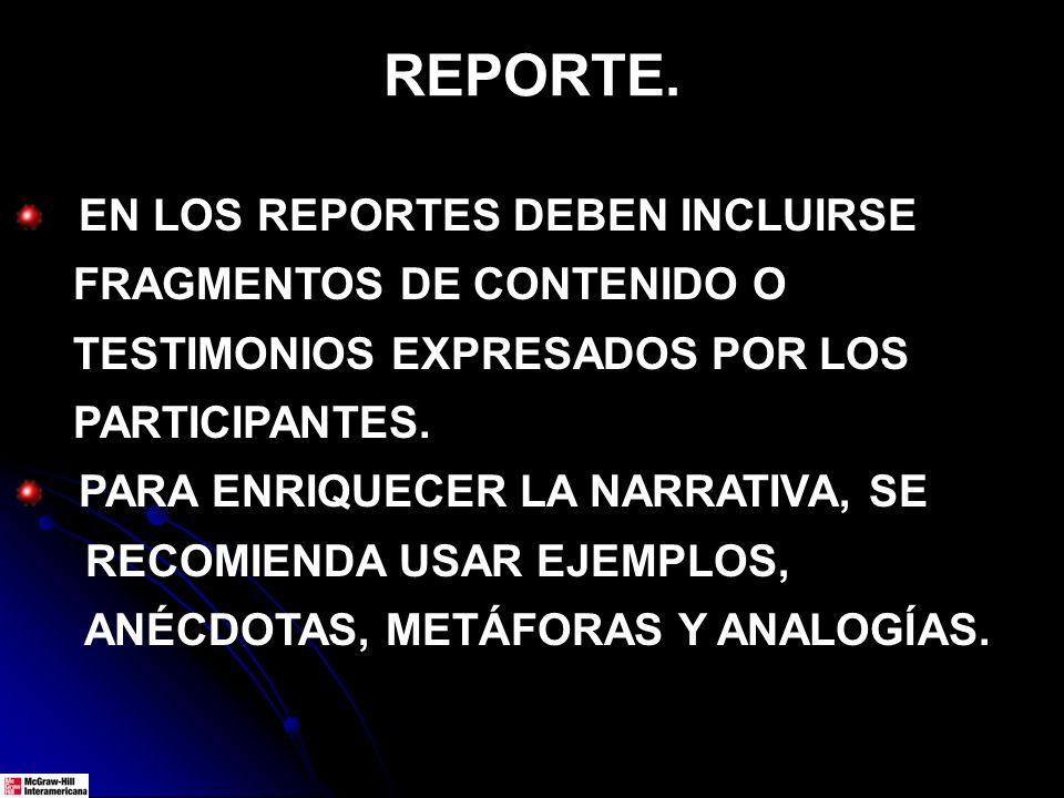 REPORTE. EN LOS REPORTES DEBEN INCLUIRSE FRAGMENTOS DE CONTENIDO O TESTIMONIOS EXPRESADOS POR LOS PARTICIPANTES. PARA ENRIQUECER LA NARRATIVA, SE RECO