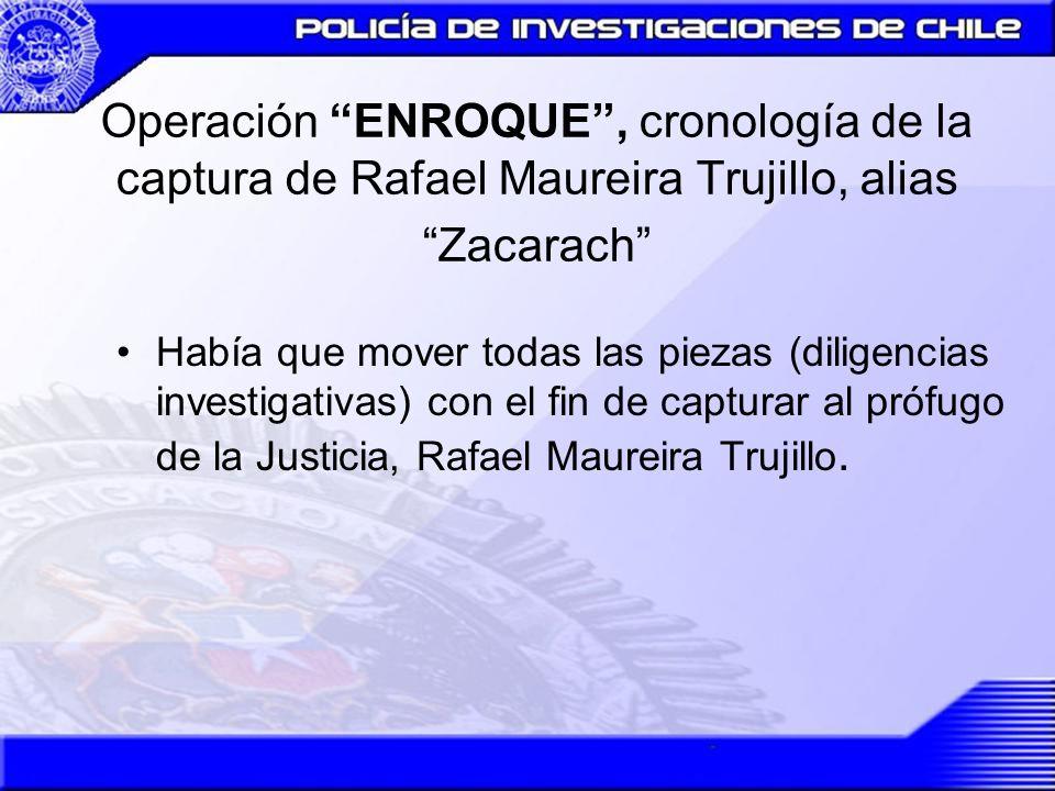 Operación ENROQUE, cronología de la captura de Rafael Maureira Trujillo, alias Zacarach Se presume que por temor a ser entregado por el mismo traficante, huye del lugar, con destino desconocido.
