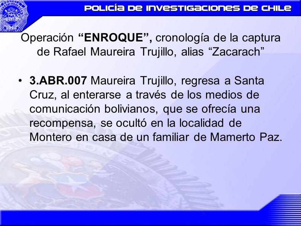 Operación ENROQUE, cronología de la captura de Rafael Maureira Trujillo, alias Zacarach 3.ABR.007 Maureira Trujillo, regresa a Santa Cruz, al enterars