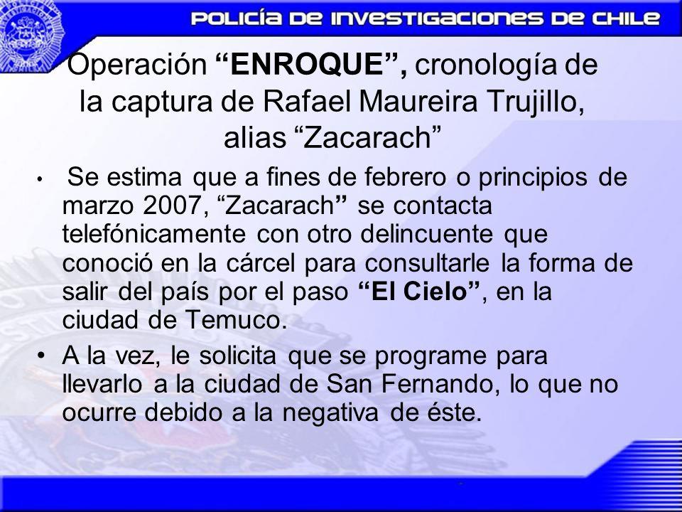 Operación ENROQUE, cronología de la captura de Rafael Maureira Trujillo, alias Zacarach 01.MAR.2007 Zacarach, firma por última vez en el Cuarto Juzgado del Crimen.
