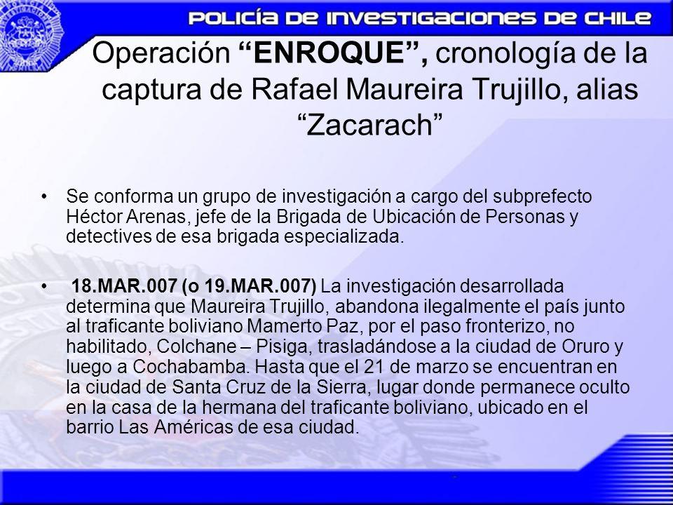 Operación ENROQUE, cronología de la captura de Rafael Maureira Trujillo, alias Zacarach Se conforma un grupo de investigación a cargo del subprefecto