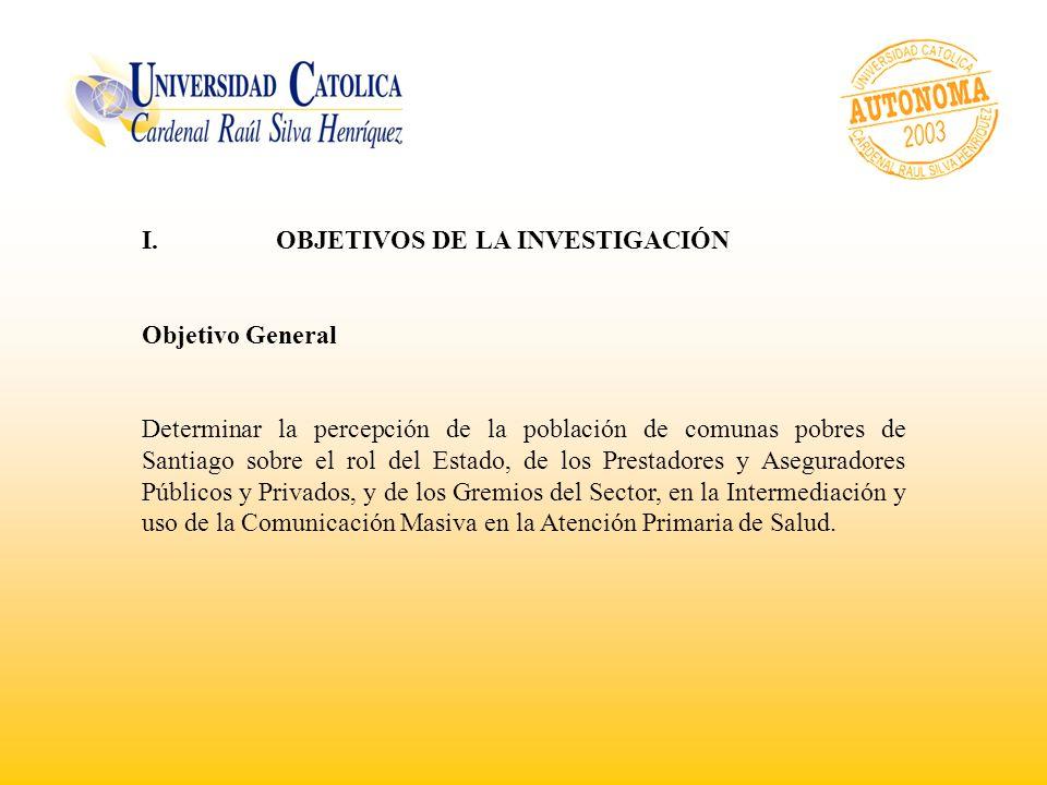 I. OBJETIVOS DE LA INVESTIGACIÓN Objetivo General Determinar la percepción de la población de comunas pobres de Santiago sobre el rol del Estado, de l
