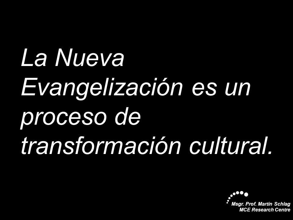 Msgr. Prof. Martin Schlag MCE Research Centre La Nueva Evangelización es un proceso de transformación cultural.