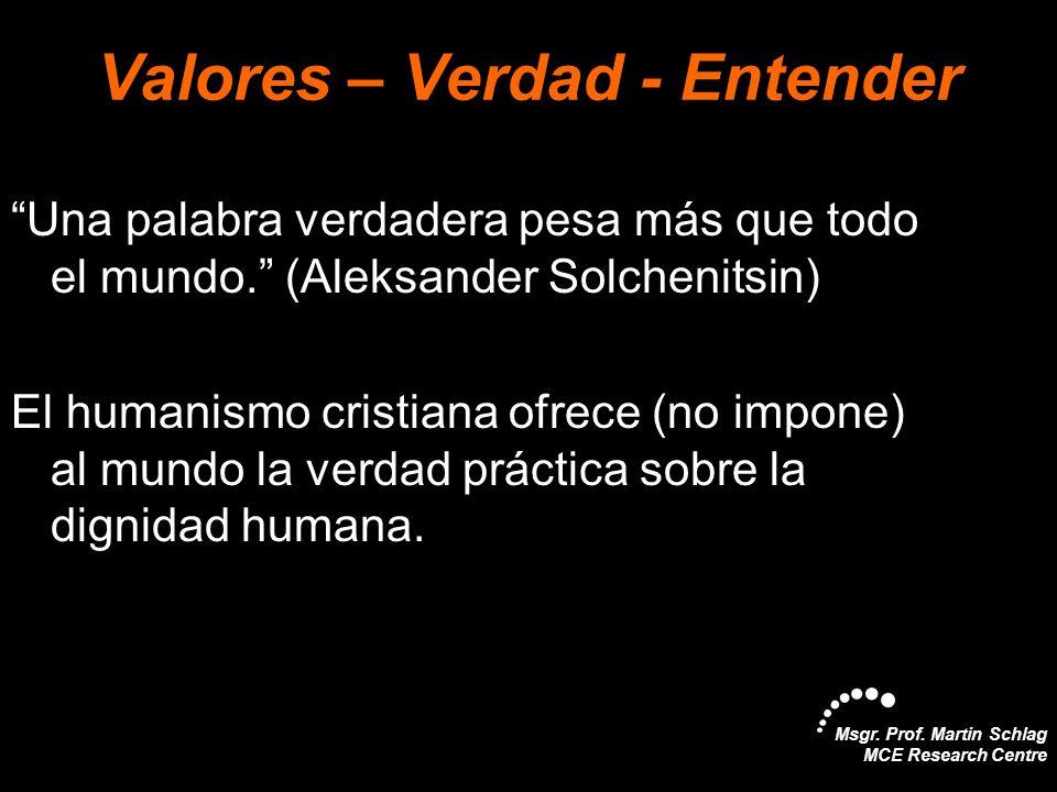 Msgr. Prof. Martin Schlag MCE Research Centre Valores – Verdad - Entender Una palabra verdadera pesa más que todo el mundo. (Aleksander Solchenitsin)