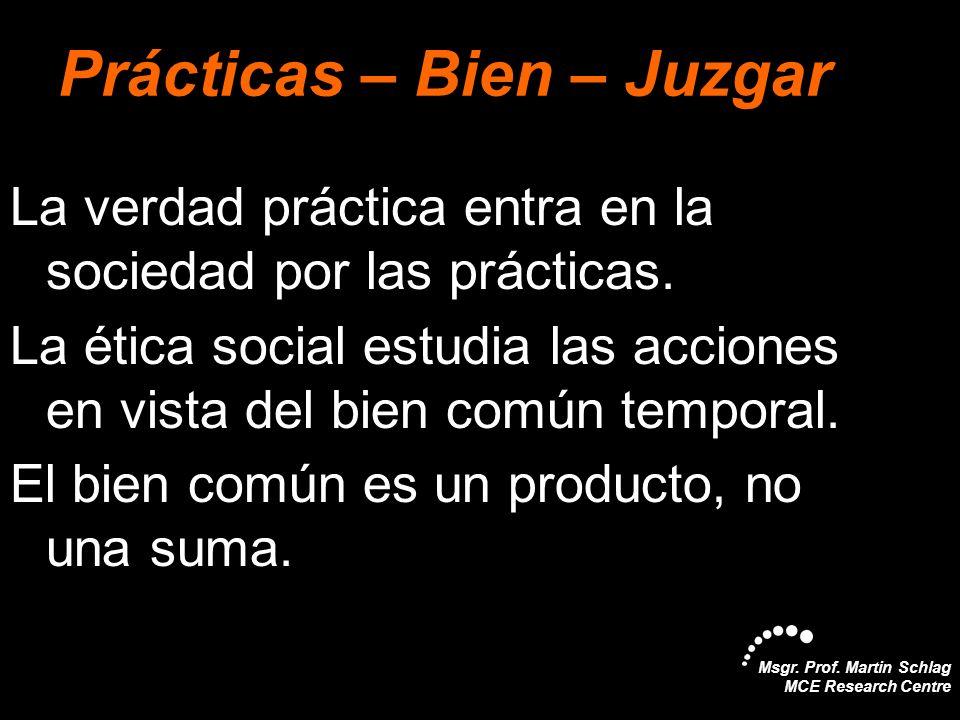 Msgr. Prof. Martin Schlag MCE Research Centre Prácticas – Bien – Juzgar La verdad práctica entra en la sociedad por las prácticas. La ética social est