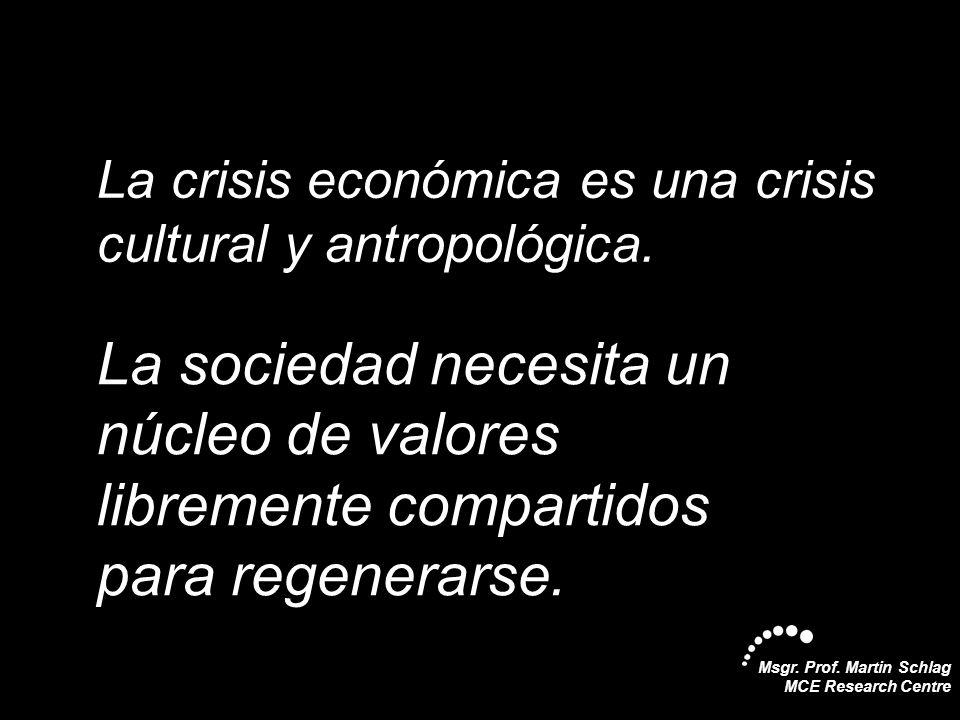 Msgr. Prof. Martin Schlag MCE Research Centre La crisis económica es una crisis cultural y antropológica. La sociedad necesita un núcleo de valores li