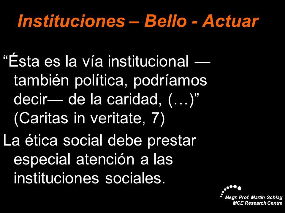 Msgr. Prof. Martin Schlag MCE Research Centre Instituciones – Bello - Actuar Ésta es la vía institucional también política, podríamos decir de la cari