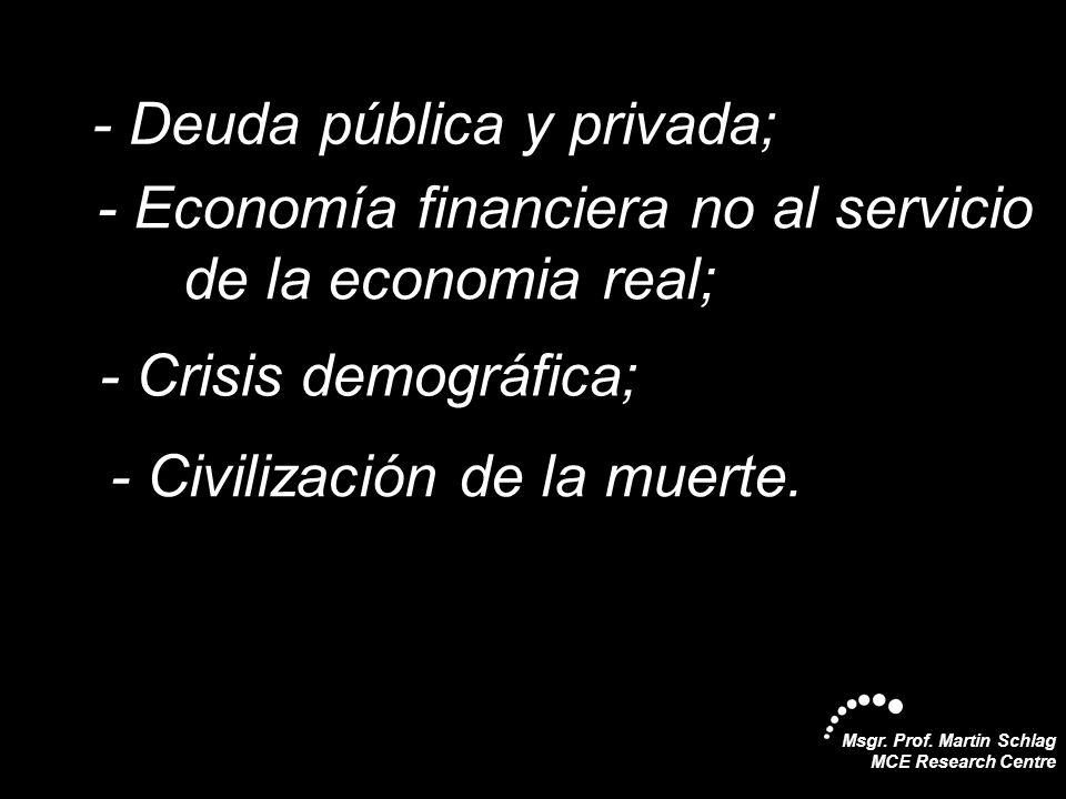 Msgr. Prof. Martin Schlag MCE Research Centre -- Deuda pública y privada; -- Economía financiera no al servicio -de la economia real; -- Crisis demogr