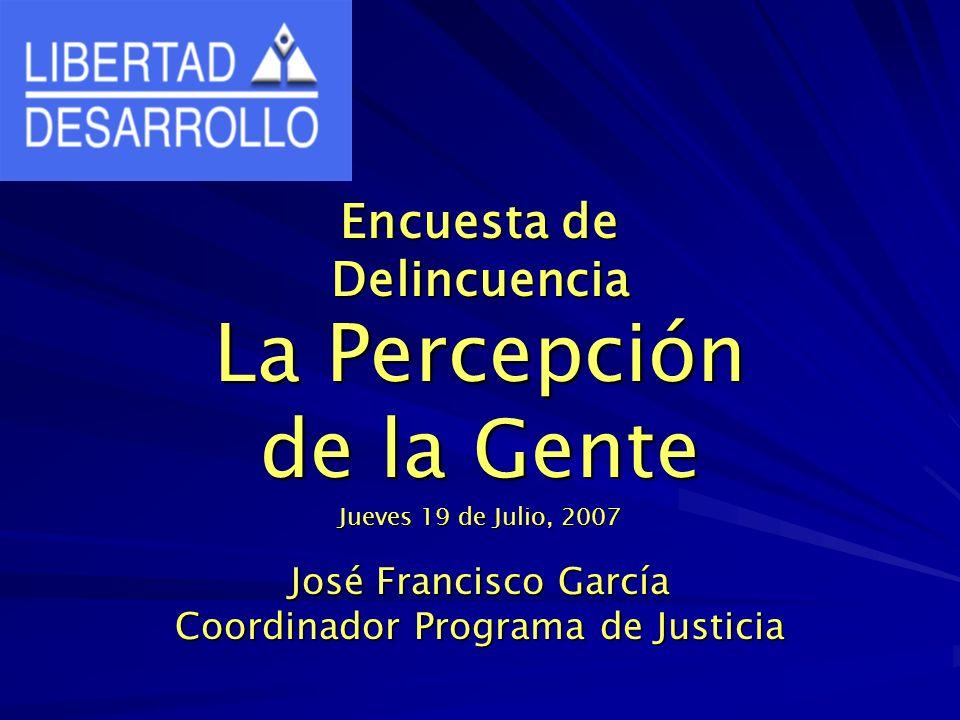 Encuesta de Delincuencia La Percepción de la Gente Jueves 19 de Julio, 2007 José Francisco García Coordinador Programa de Justicia
