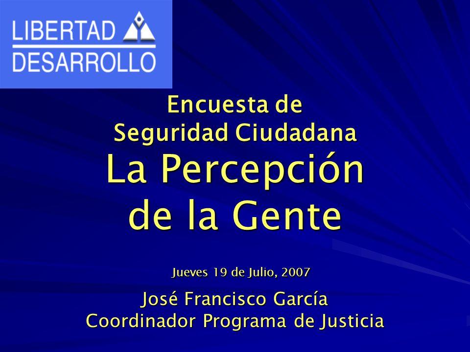 Encuesta de Seguridad Ciudadana La Percepción de la Gente Jueves 19 de Julio, 2007 José Francisco García Coordinador Programa de Justicia