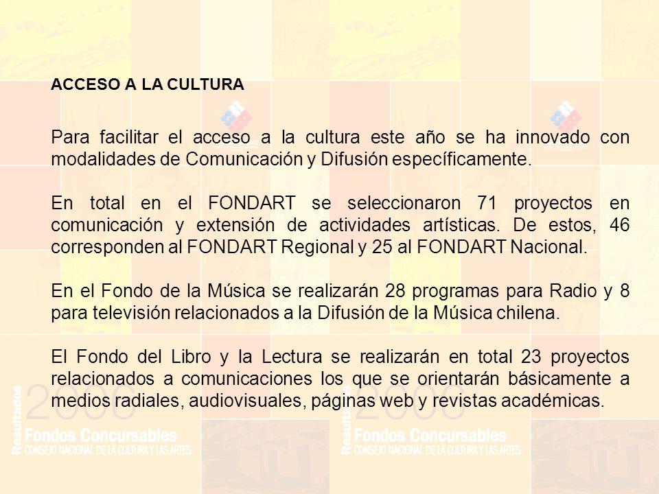 ACCESO A LA CULTURA Para facilitar el acceso a la cultura este año se ha innovado con modalidades de Comunicación y Difusión específicamente.