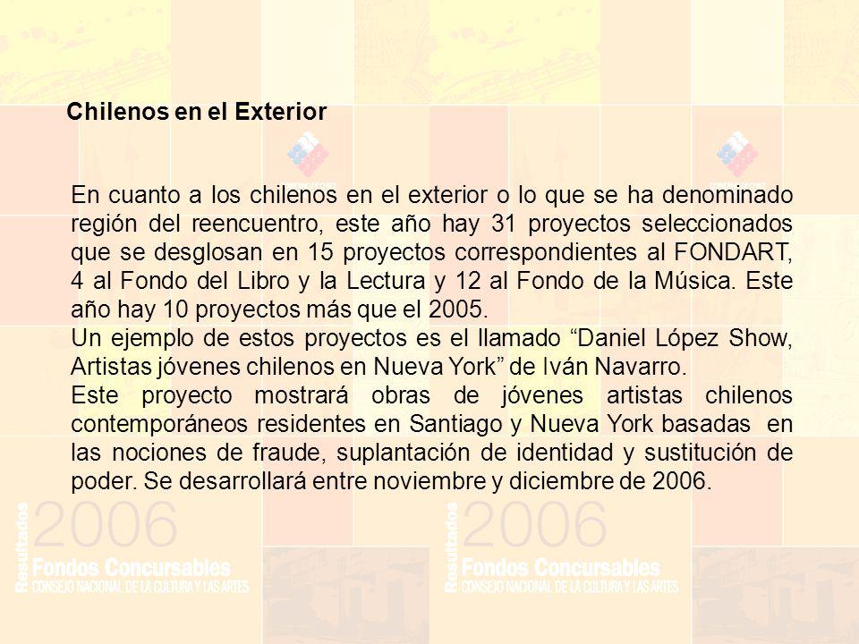 Chilenos en el Exterior En cuanto a los chilenos en el exterior o lo que se ha denominado región del reencuentro, este año hay 31 proyectos seleccionados que se desglosan en 15 proyectos correspondientes al FONDART, 4 al Fondo del Libro y la Lectura y 12 al Fondo de la Música.