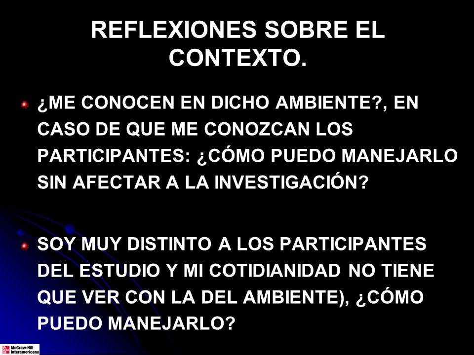 REFLEXIONES SOBRE EL CONTEXTO. ¿ME CONOCEN EN DICHO AMBIENTE?, EN CASO DE QUE ME CONOZCAN LOS PARTICIPANTES: ¿CÓMO PUEDO MANEJARLO SIN AFECTAR A LA IN