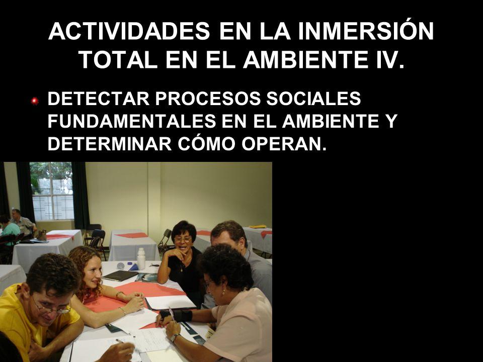 ACTIVIDADES EN LA INMERSIÓN TOTAL EN EL AMBIENTE IV. DETECTAR PROCESOS SOCIALES FUNDAMENTALES EN EL AMBIENTE Y DETERMINAR CÓMO OPERAN.